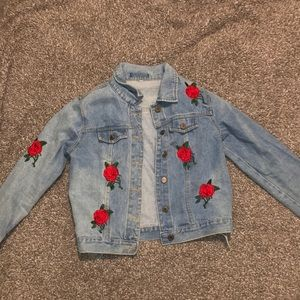 SHEIN limited edition embroidered rose jean jacket